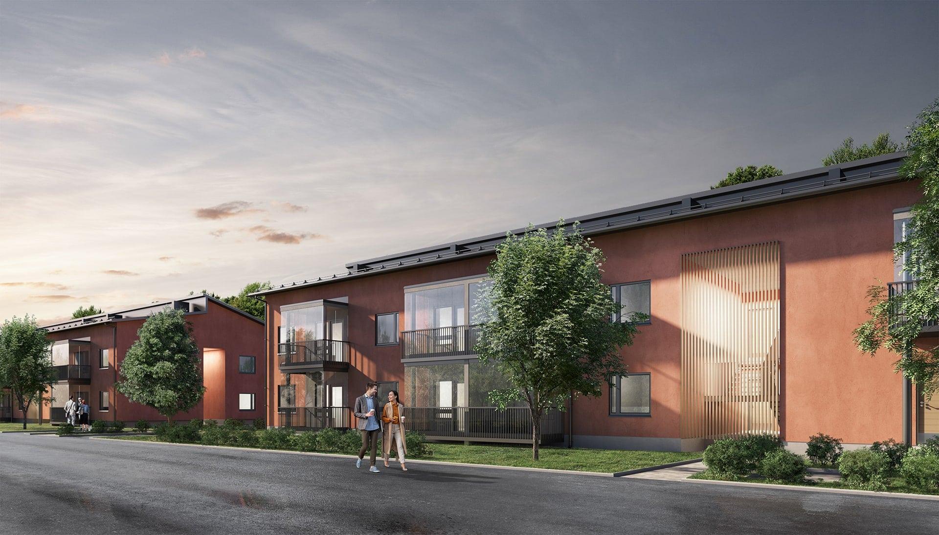 Kaksikerroksiset luhtitalot valmistuvat Kirkkonummen Laajakallion alueelle syksyllä 2022.